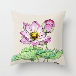 Botanical illustration lotus Throw Pillow