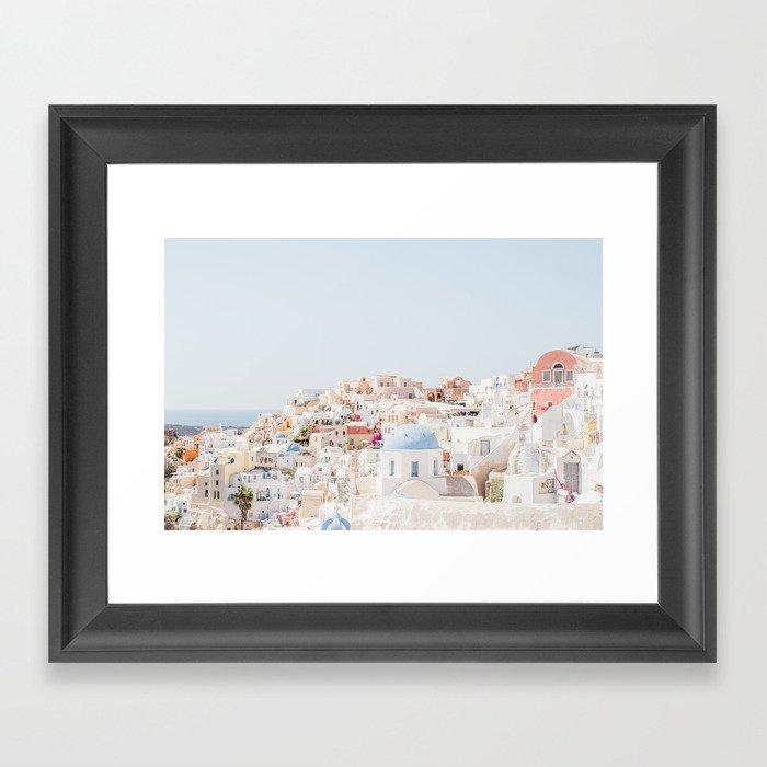 Santorini Vista Gerahmter Kunstdruck