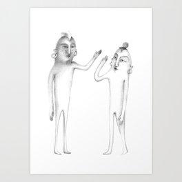 prehistoric hi-five Art Print