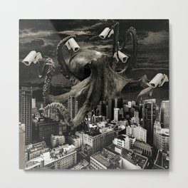 Modern Freedom Black and White Metal Print