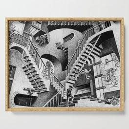 MC Escher Relativity I 1953 Artwork Reproduction for Posters Prints Tshirts Men Women Kids Serving Tray