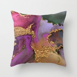 Glitter Gold, Pink, Purple and Green Abstract Painting Throw Pillow