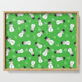 Snowmen on Bright Green Christmas Pattern Digital Graphic Design Serving Tray