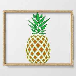 Pineapple Embroidery look T-shirt - cute, cool and awesome Serving Tray