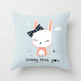 RABBIT BUNNY CARTOON Throw Pillow