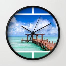 Beautiful Caribbean Sea Pier On The Beach At Playa del Carmen - Mexico Wall Clock