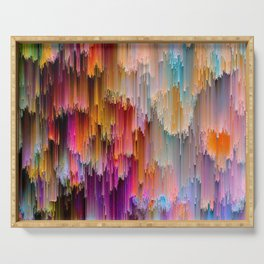 Light meets Dark Colorful Glitch Art Serving Tray