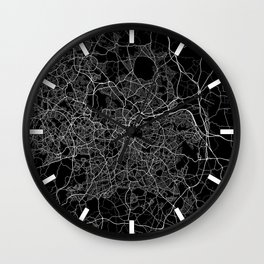 Kampala City Map of Uganda - Full Moon Wall Clock