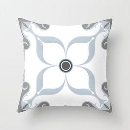 Blue & Gray Moroccan Tile II Throw Pillow