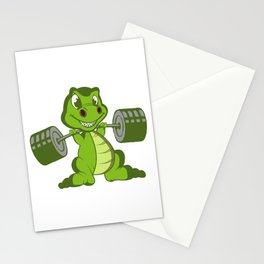 T Rex Training Muscles Trex Fanatic Gift Stationery Cards