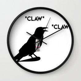 White Claw Crow Wall Clock