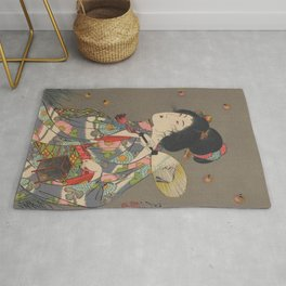Japanese Art Print - Woman and Fireflies Rug