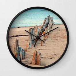 Wharf Remains on the Beach Wall Clock