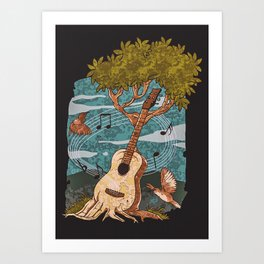 Music Nature Guitar Tree Art Print