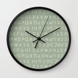 ABC in Mint Gray Wall Clock