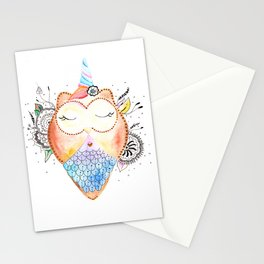 Cute Owl Watercolor Art Illustration Stationery Cards