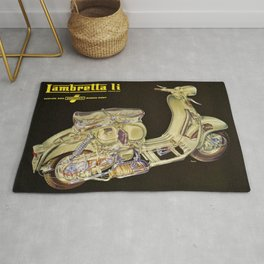 1959 Lambretta Li, dalla Innocenti Scooter Motorcycle Vintage Poster Rug