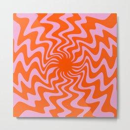 70s Retro Pink Orange Abstract Metal Print