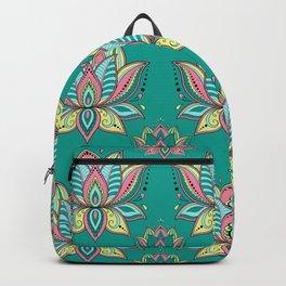 Lotus Mandala Doodle Green Pattern Backpack
