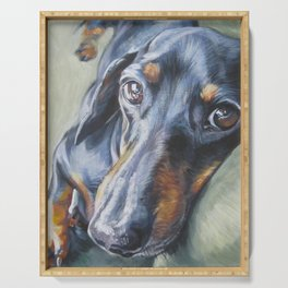 Dachshund Fine Art Dog Painting from an original painting by L.A.Shepard Serving Tray