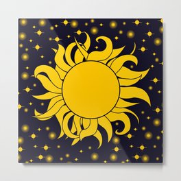 Sun & Stars Yellow Blue Space Astronomy Cosmic Metal Print