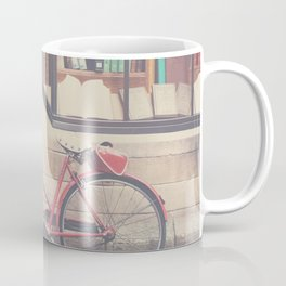 A vintage red bicycle and the bookstore photograph Coffee Mug