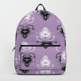 Ornament medallions - Black and white fractals on crocus petals color Backpack