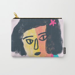 Woman with Pink Beads Carry-All Pouch