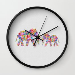Floral Elephants, Nursery Decor Wall Clock
