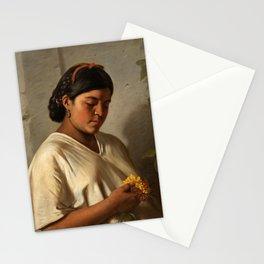 Indian Woman with Marigold by Felipe Santiago Gutiérrez Stationery Cards