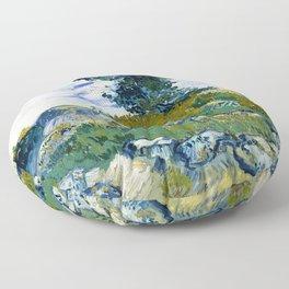 Vincent van Gogh - The Rocks, Rocks With Oak Tree - Digital Remastered Edition Floor Pillow