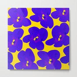 Blue Retro Flowers Yellow Background #decor #society6 #buyart Metal Print