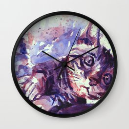 Kitten playing with scratching post colorful watercolor painting kitten artwork Wall Clock