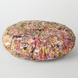 TENDER SUN - Jackosn Pollock style drip painting art design, dripping design, splash patern modern art Floor Pillow