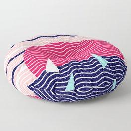 Hello Ocean Sunset Waves Floor Pillow