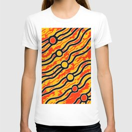 Authentic Aboriginal Art - Bush Fires T-shirt