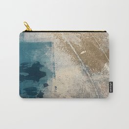 Embrace: a minimal, abstract mixed-media piece in blues and gold with a hint of pink Carry-All Pouch