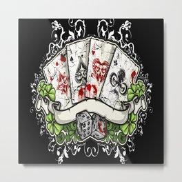 Bike Playing Cards Metal Print
