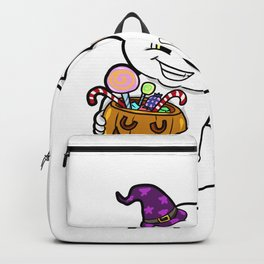 ghosty Halloween Trick or Treat Wine Ghost Present Gift Backpack