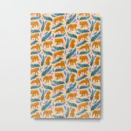 Jungle Cats | Blue Metal Print