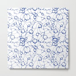Blue abstract endless lines and circles art print Metal Print