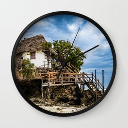 Picturesque house on a tropical coral outcrop Wall Clock