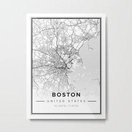 Boston Modern Map Metal Print