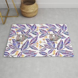 Happy Sloth – Tropical Indigo Leaves Rug