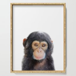 Baby Monkey, Baby Animals Art Print By Synplus Serving Tray