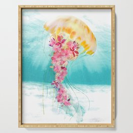 Jellyfish with Flowers Serving Tray