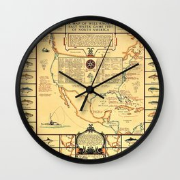 Illustrated Map of Well Known Salt Water Game Fish of North America Wall Clock