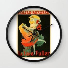 Belle Epoque vintage poster, Folies Bergere, La Loie Fuller Wall Clock