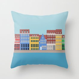 Nyhavn, Copenhagen, Denmark - North Throw Pillow