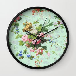 Antique romantic vintage 1800s Victorian floral shabby rose flowers pattern aqua mint hipster print Wall Clock